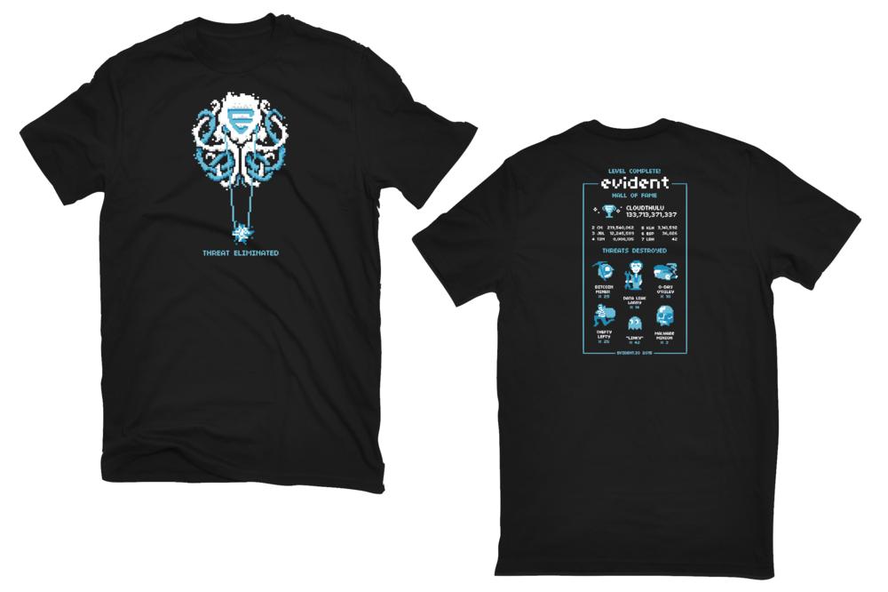 t-shirt designs turning Cloudthulu into a 16-bit video game boss.