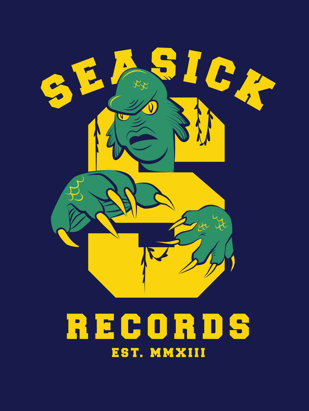 Seasick's unofficial mascot, a certain creature from lagoon-esque upbringing, has appeared in many forms on various pieces of merchandise and promotional materials since the store's opening in 2013.