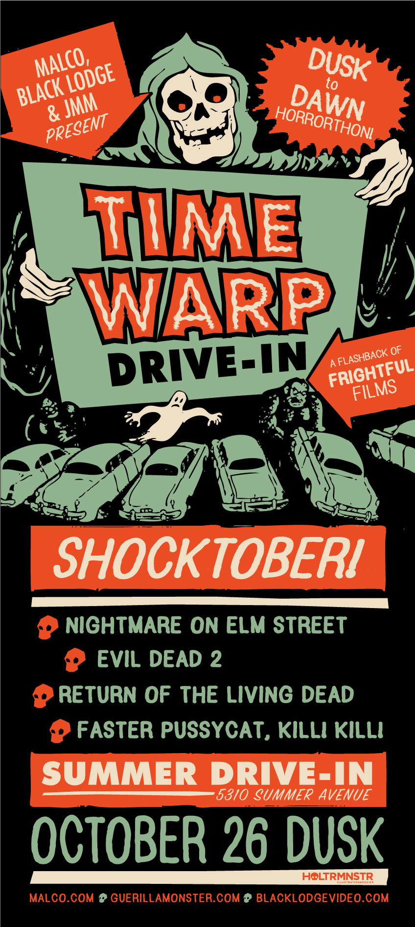 I've been designing original art posters for Time Warp since our very first installment in October of 2013—the first Shocktober! I set up a booth each month to sell original poster prints, stickers, and buttons.