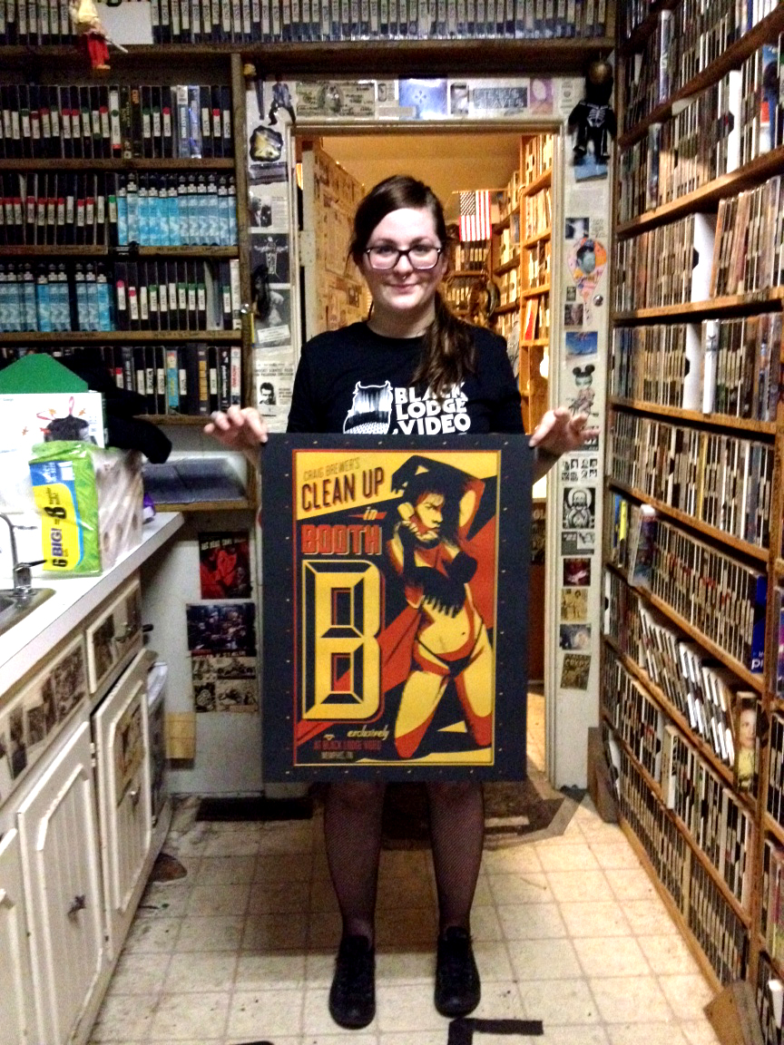 showing off the printed posters! photo taken at Black Lodge Video, 831 S. Cooper