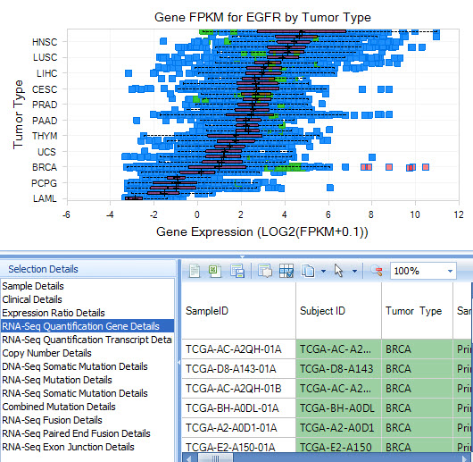 Samples with high EGFR expression in breast cancer patients are highlighted in pink.