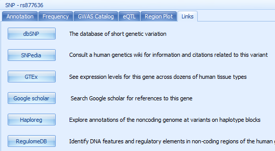 Reference Links to public resources including dbSNP. SNPedia, GTEx, Google scholar, Haploreg, RegulomeDB.