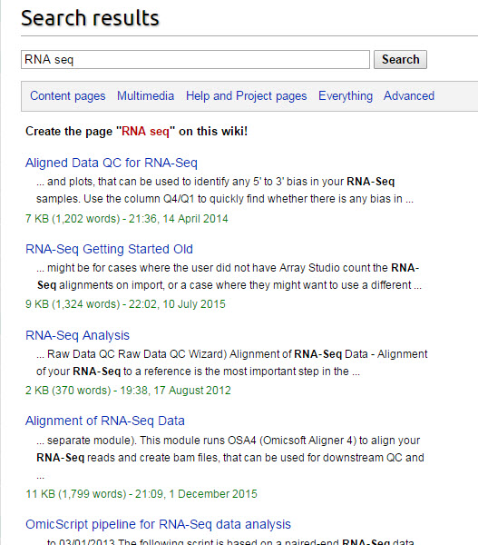 Omicsoft Wiki Search Box and search results for RNA seq.