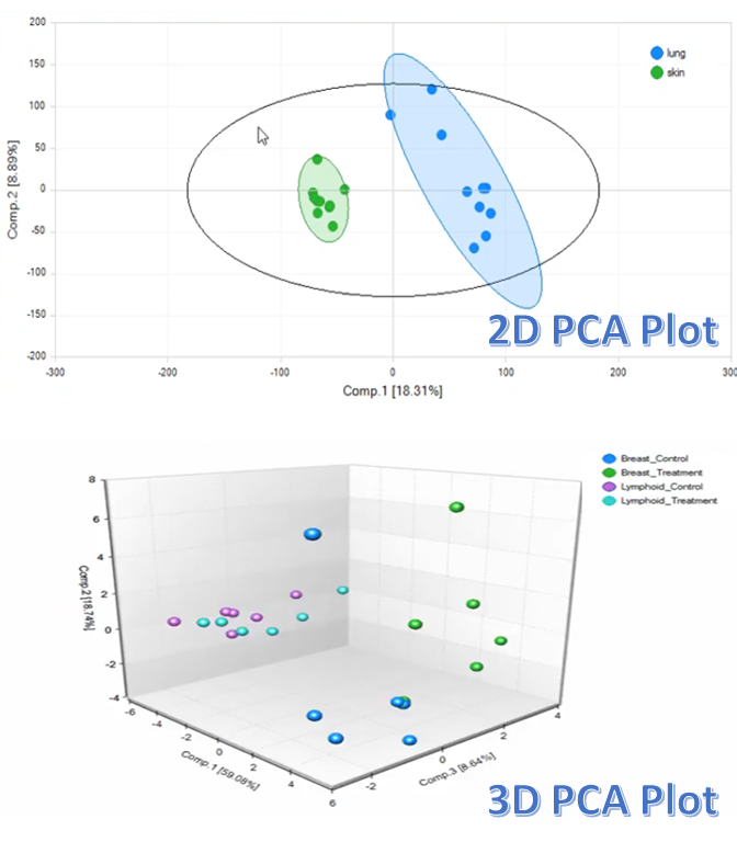 Both 2D and 3D PCA plots are commonly used to group data or identify outliers.