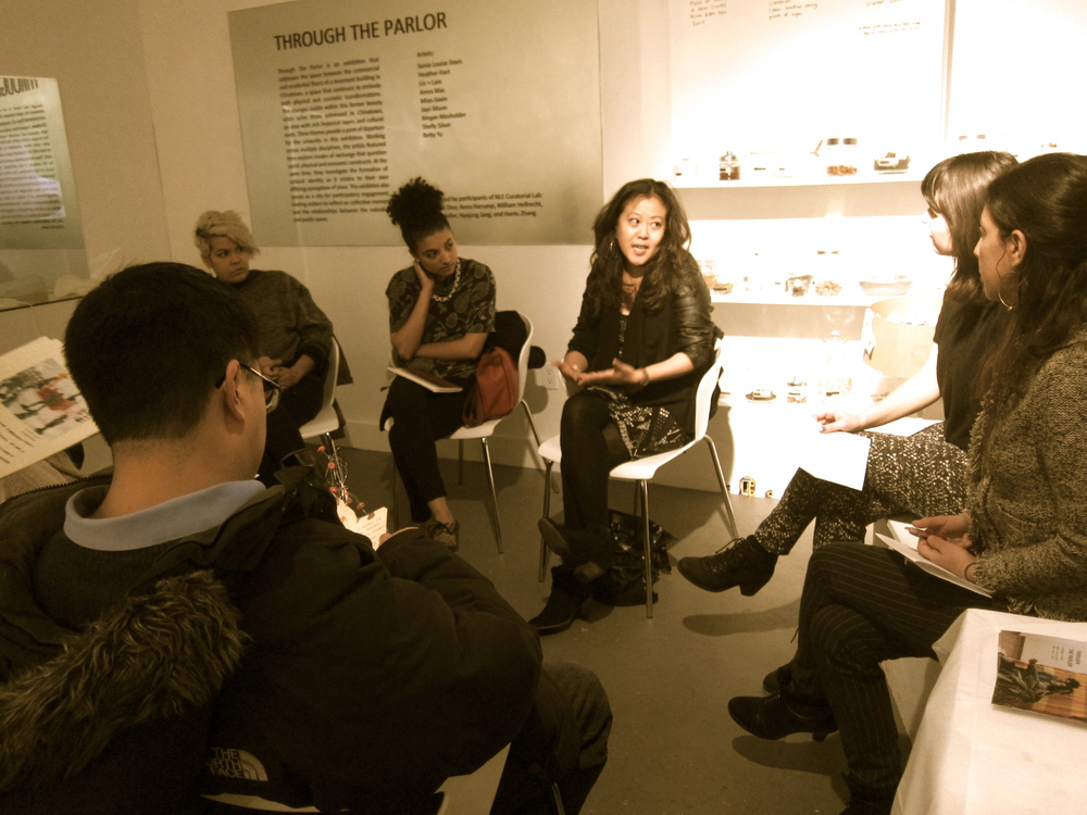 Betty on an artist panel discussing the exhibit and her social justice and participatory art process