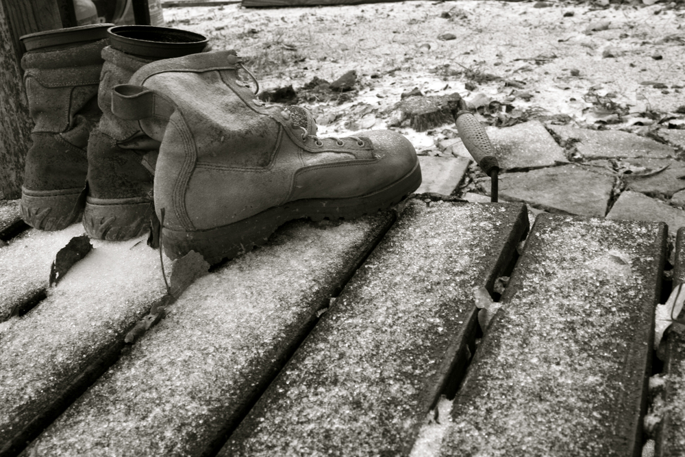 Boots on the ground, in the snow