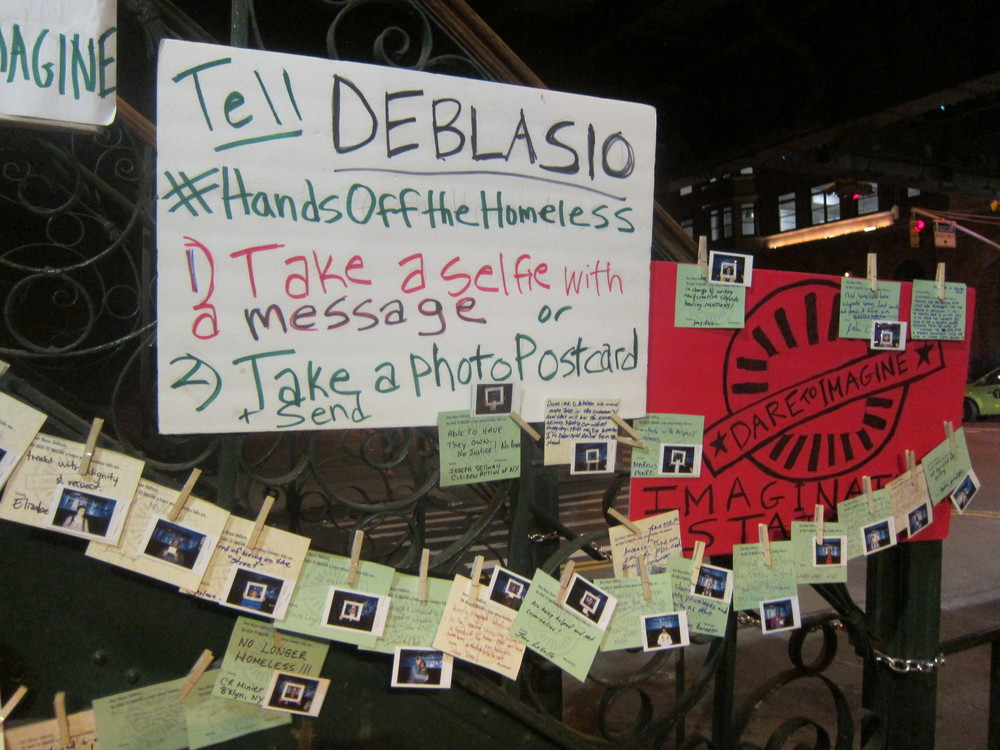 Dare to Imagine with Picture the Homeless #HandsOffTheHomeless Letters to Mayor DeBlasio