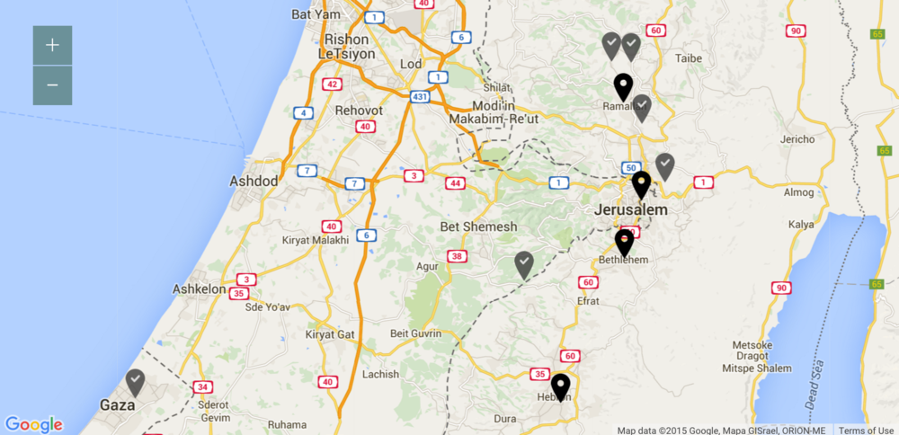 An interactive Map with videos showing where the Palestinians I met live