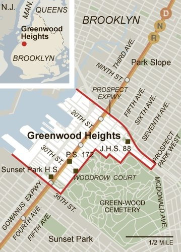 """One relatively well-accepted definition has Greenwood Heights extending from the Prospect Expressway to 36th Street and from the harbor to Prospect Park West.""    ( Source: New York Times, 8/28/11)"