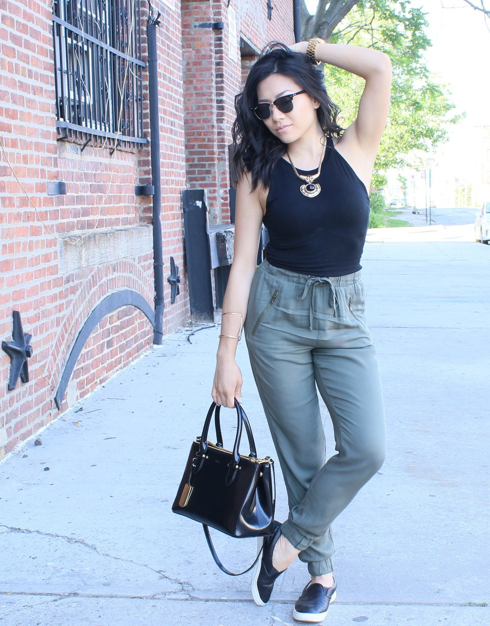 Crop top|Pants|Necklace - Forever 21    Slip on sneakers – Nine West    Purse- RLL