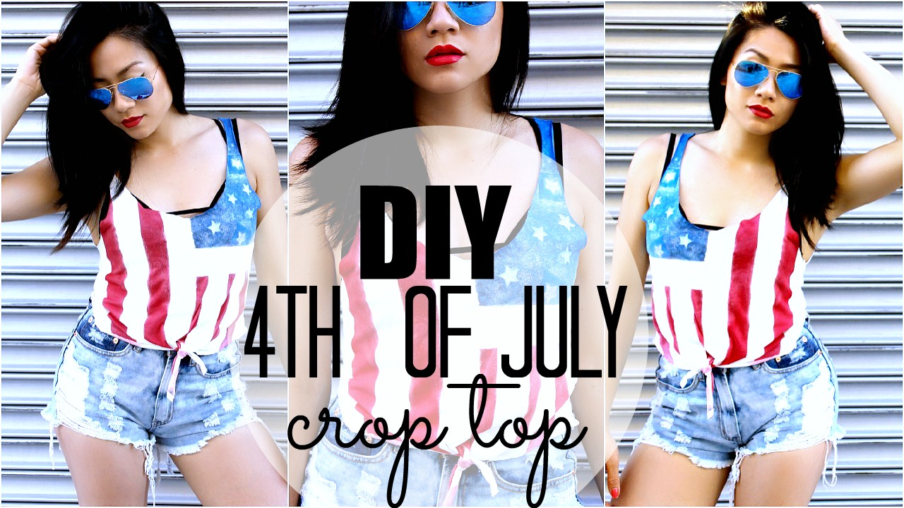 9213f910b9317d DIY  Fourth of July American Flag Front Tie Crop Top