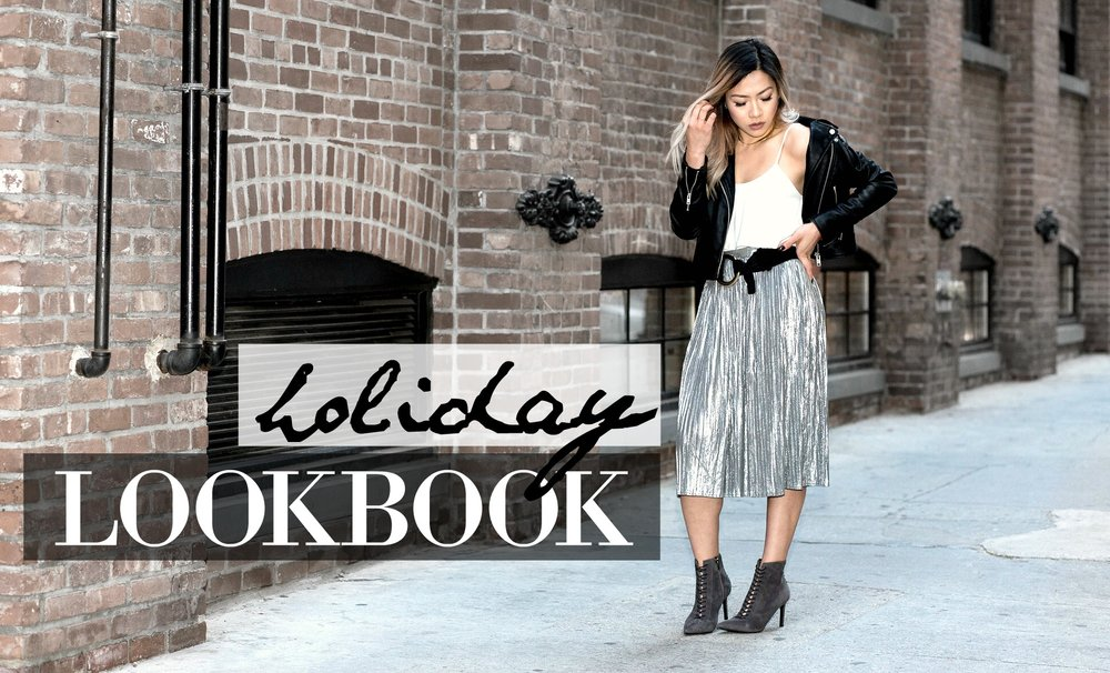 Chic, edgy and not your typical holiday outfit ideas and fashion lookbook