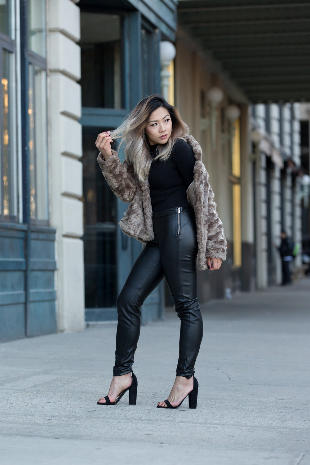 faux fur and faux leather pants , holiday outfit ideas , fall, winter outfit