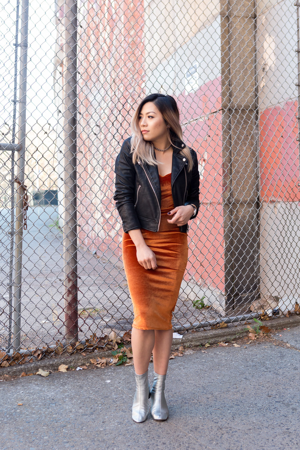 Lila Velvet Strappy Slip Dress, Georgina Cylinder Sock Ankle Boot, leather jacket, streetsyle outfit