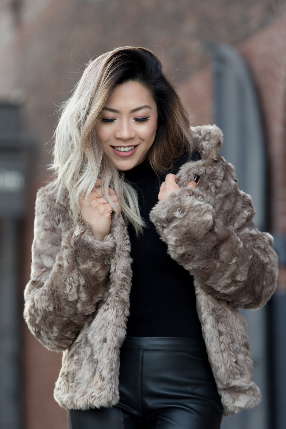 how to style faux fur, winter outfit, forever 21, dumbo nyc