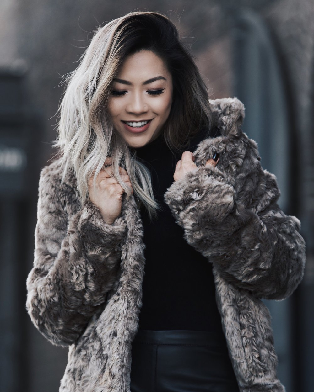 forever 21 faux fur coat taupe