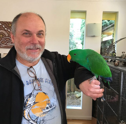 Adopted - This is Echo with his new owner, after a 4 week trail with his new family everyone knew it was meant to be. He now lives with two other Eclectus parrots and they are already the best of friends as they regurgitate to feed each other. We are so glad with his new forever home.