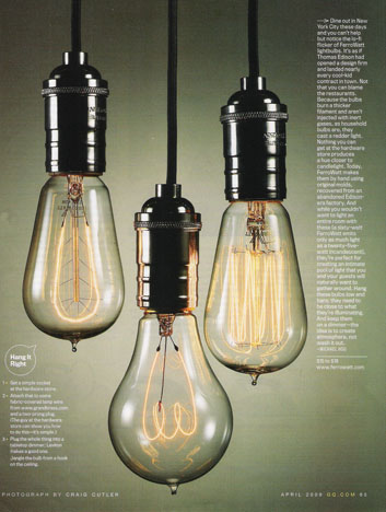 these ferrowatt pendants above caught my eye in the april issue of gq ferrowatt provides of the original bulbs invented by thomas alva