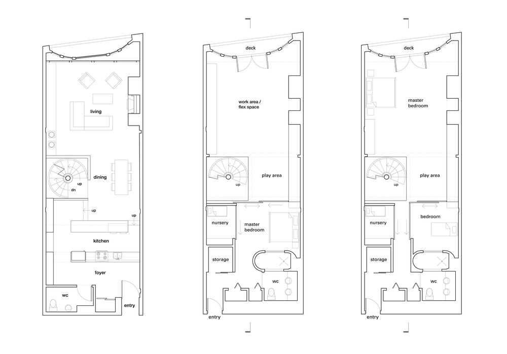 Upper Floor Plan / Lower Floor Plan - One Child Scenario / Lower Floor Plan - Two Child Scenario