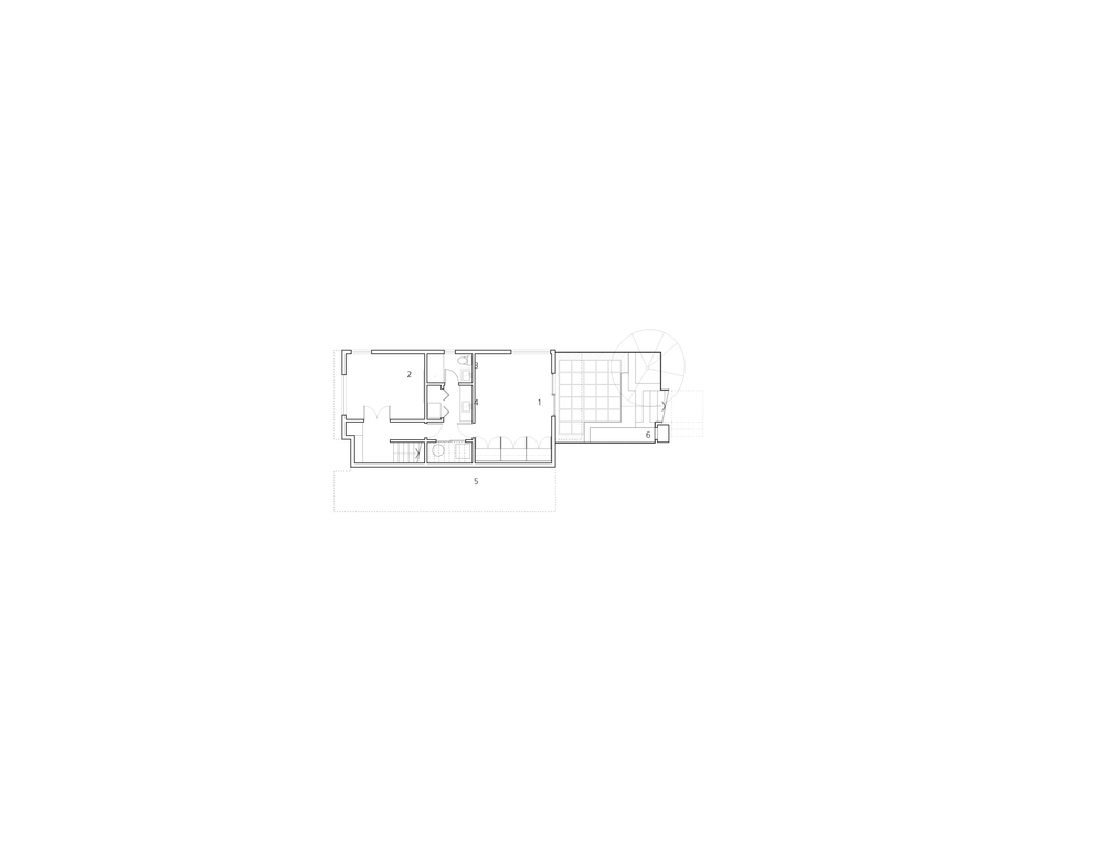 Lower Floor Plan 1-family room 2-media room 3-bathroom 4-laundry 5-crawlspace 6-water