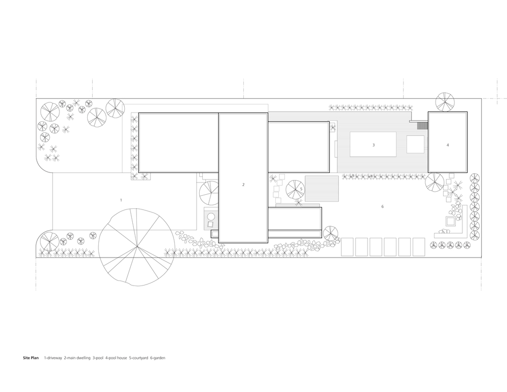 Site Plan 1-driveway 2-main dwelling 3-pool 4-pool house 5-courtyard 6-garden