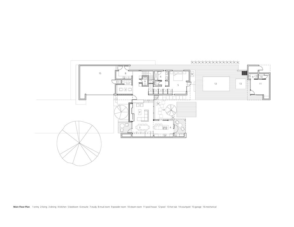 Main Floor Plan 1-entry 2-living dining 4-kitchen 5-bedroom 6-ensuite 7-study 8-mud room 9-powder room 10-steam room 11-pool house 12-pool 13-hot tub 14-courtyard 15-garage