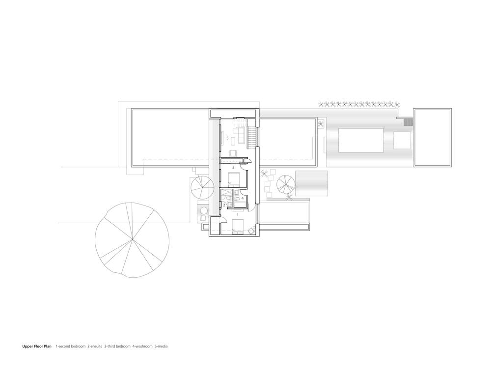 Upper Floor Plan 1-second bedroom 2-ensuite 3-third bedroom 4-washroom 5-media