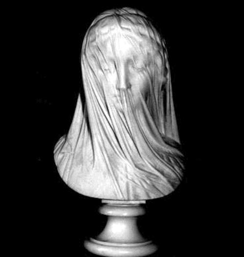"""The Veiled Virgin"", Giovanni Strazza. Mid 19th century bust carved out of Carrara marble"