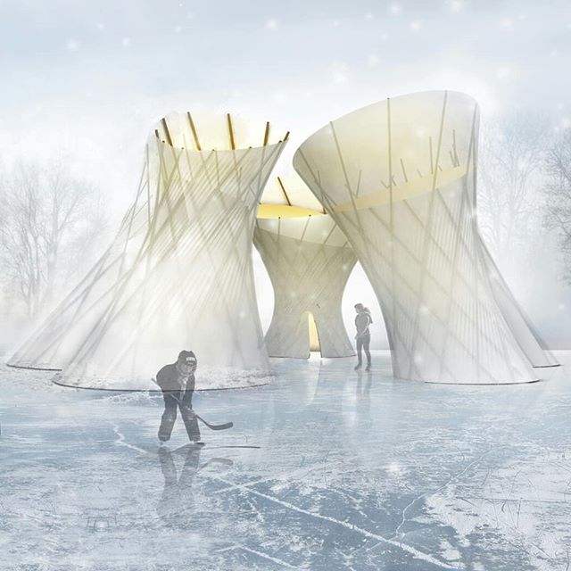 WORK / Vortex Shelters Competition, Winnipeg. The Vortex shelters were inspired by the simplicity of form, the economy of materials, ant the presence in the landscape of the traditional tipi structures the nomadic plains of aboriginal people. Five distinct forms cluster together defining a unique configuration of spaces within and between. Each shelter is assembled from ubiquitous and robust construction materials -easily transported, erected, and dismantled. The pole structures consist of standard length aluminum construction scaffolding and standardized connection pieces, fastened to an articulated wood base with integrated seating. The Skeleton structures are skinned with heat shrink construction film, creating a highly durable taught membrane, offering protection from the elements. Inside each shelter, a secondary lining provides warmth while framing views to the sky above. The shrink wrap is 100% recyclable, resulting in a structure that has virtually zero waste. ⠀⠀⠀⠀⠀⠀⠀⠀⠀