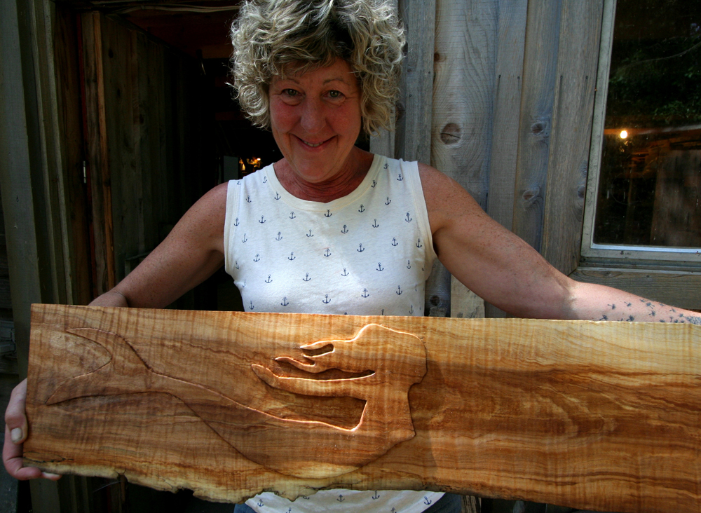 Carmel holding up sign Carving Class 2015.jpg