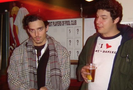Russ and I at a UVic bar playing pool in 2004 or 2005.