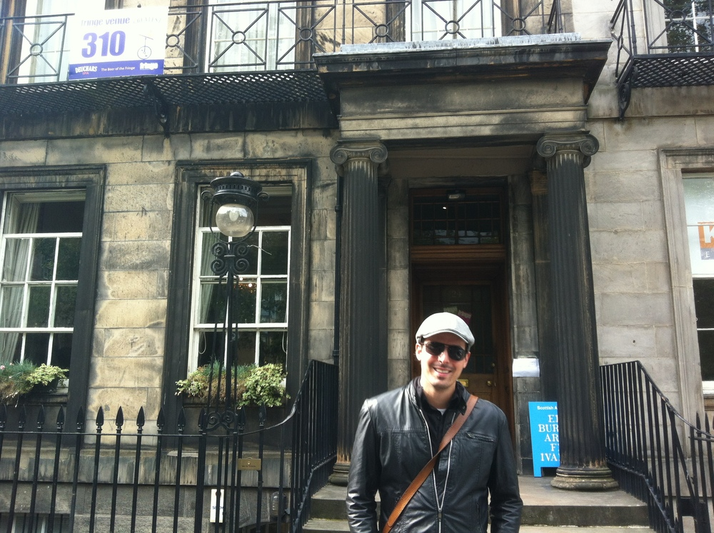 Out front of the Scottish Arts Club for the opening of the Sloans Project at the 2013 Edinburgh Fringe festival.