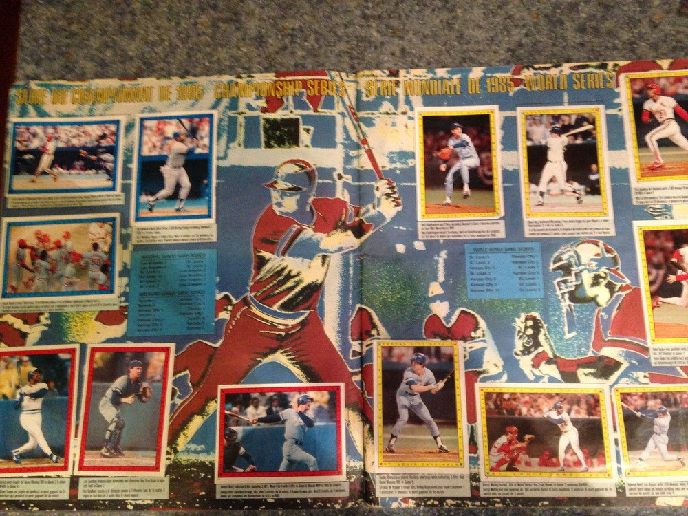 A visually distracting summary of the 1985 World Series in stickers (Kansas City Royals v. St. Louis Cardinals)