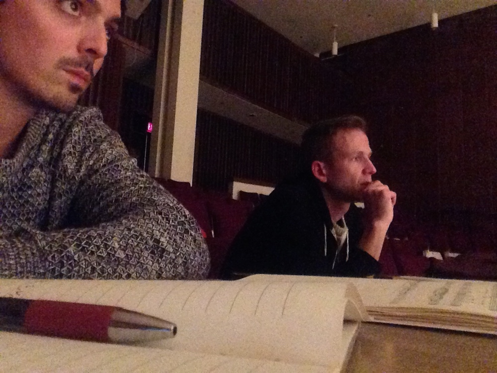 Myself and composer Brian Harman looking and listening in the same direction, as we should.