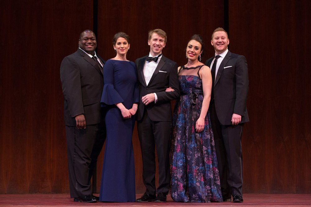 Winners Reginald Smith Jr., Virginie Verrez, Joseph Dennis, Marina Costa - Jackson and Nicholas Brownlee - Courtesy of Marty Sohl/Met Opera