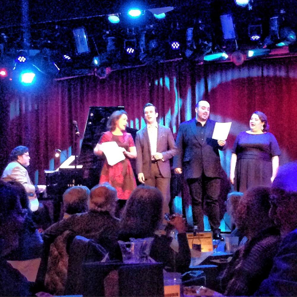 Caroling: Erin Morley, Brian Michael Moore, Matthew Anchel and Felicia Moore with Christopher Cano accompanying