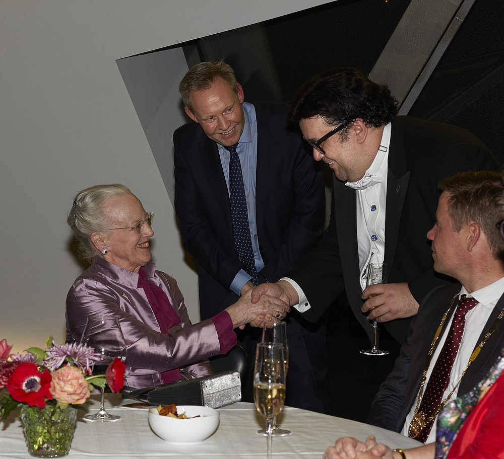 Meeting  Her Majesty The Queen of Denmark after the final round of the  2017 Lauritz Melchior International Singing Competition.  Aalborg, Denmark