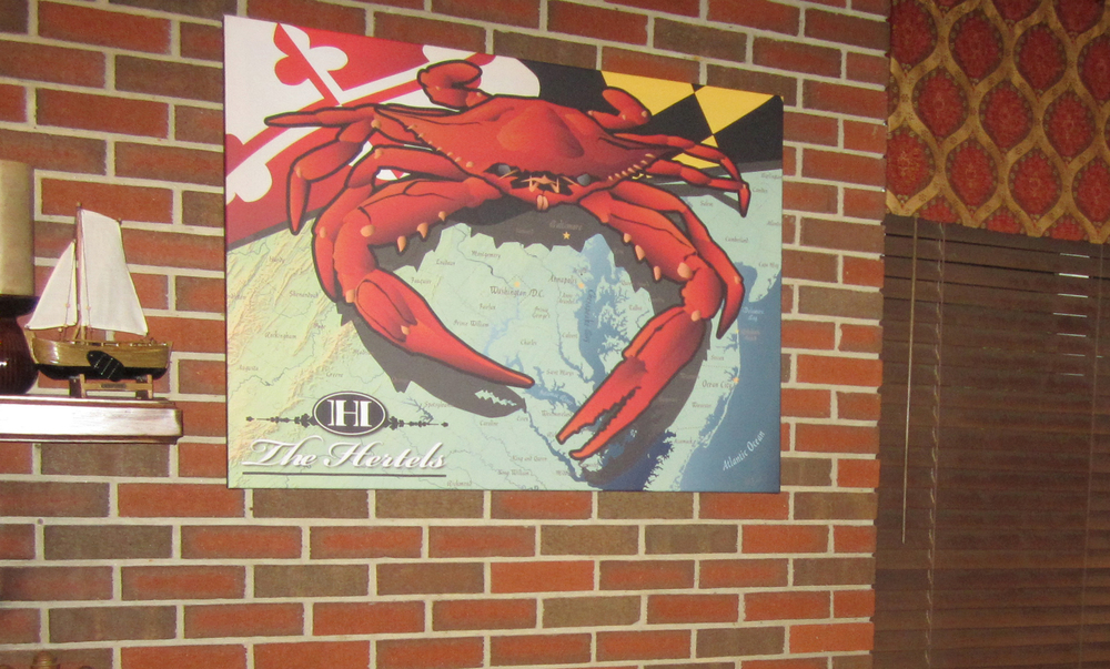 Large PERSONALIZED Maryland Crab wall art canvas for Family room.