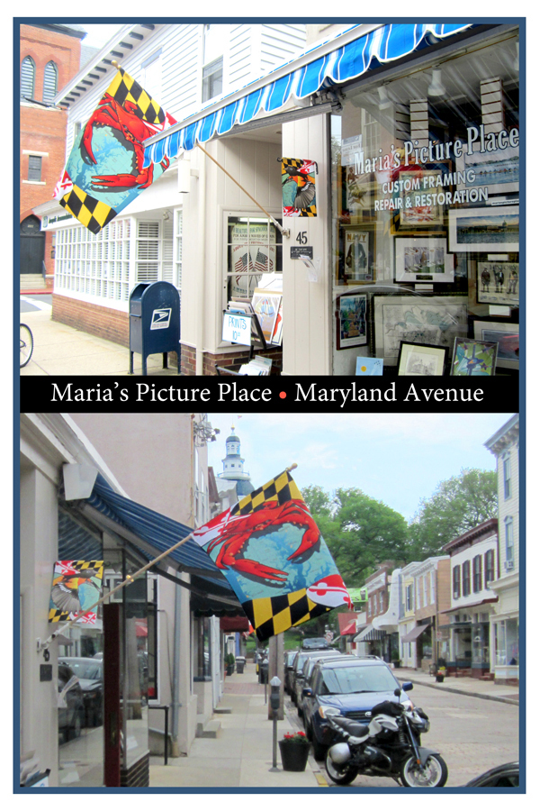 Citizen Pride's Crab House Flag and Oriole Garden Flag on display on Maryland Avenue, Annapolis.