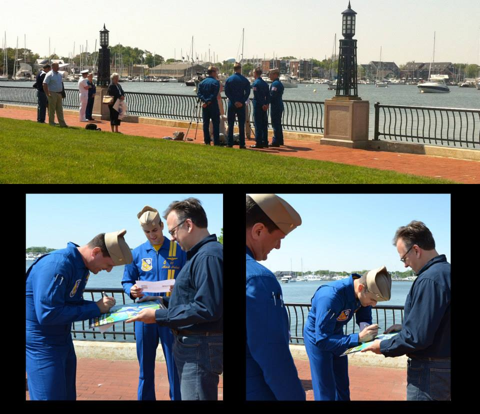 Blue Angels pilots at Naval Academy sign Joe Barsin's Annapolis Commissioning Week tribute poster.
