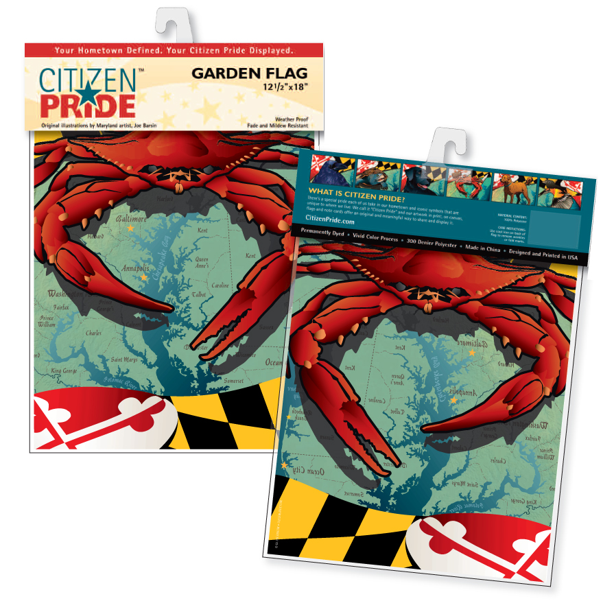 front and back of garden flag packaging (MD Red crab flag shown)