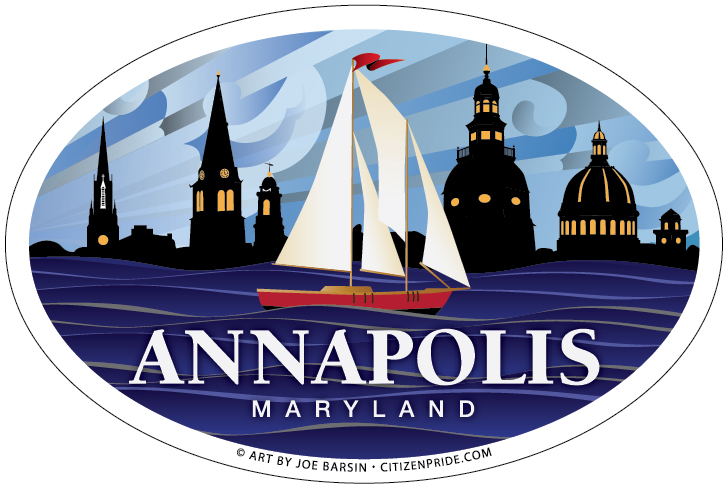 Oval Magnet of Annapolis: red Sailboat