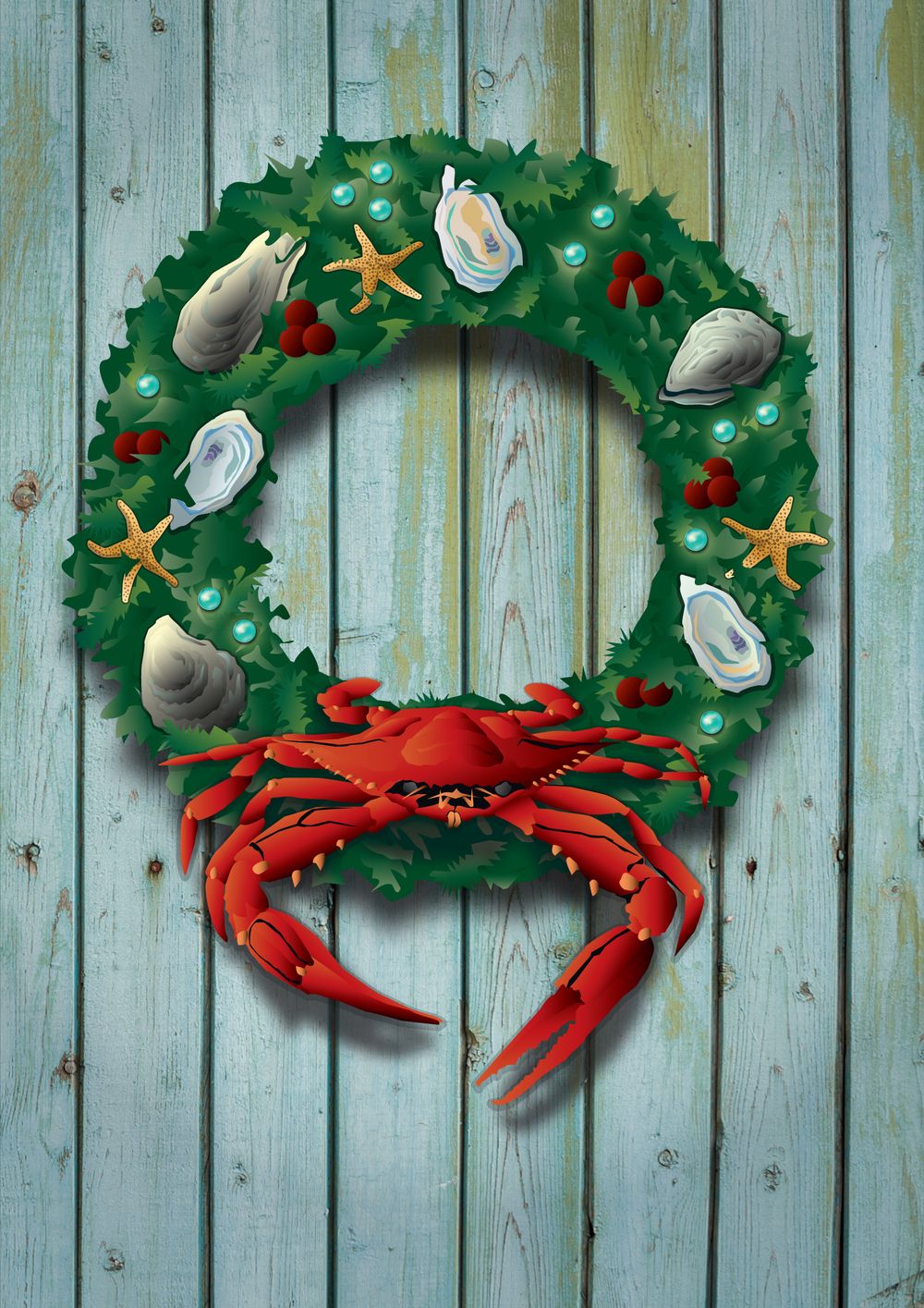 "Holiday Crab Wreath Card cover. Inside message: ""May your Home be Filled with Warmth and Wonder this Holiday Season."""