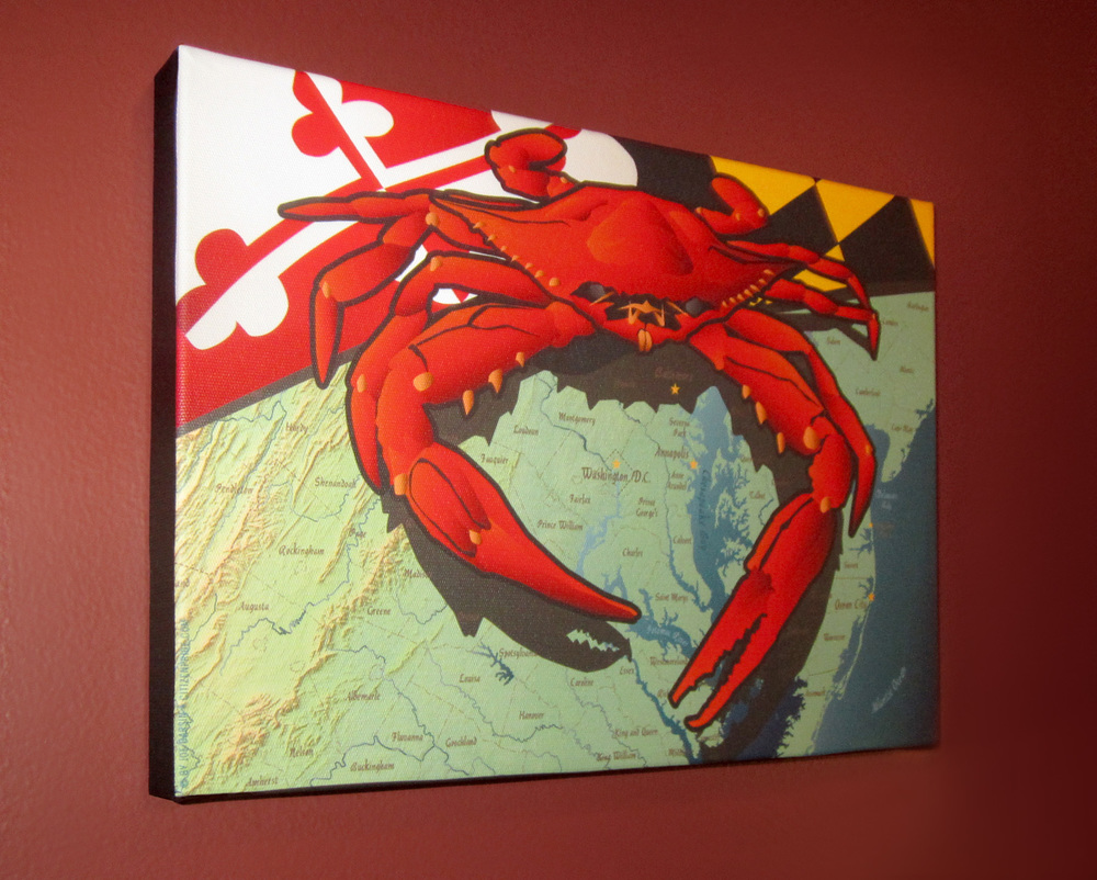 Picture of Crab canvas hanging.