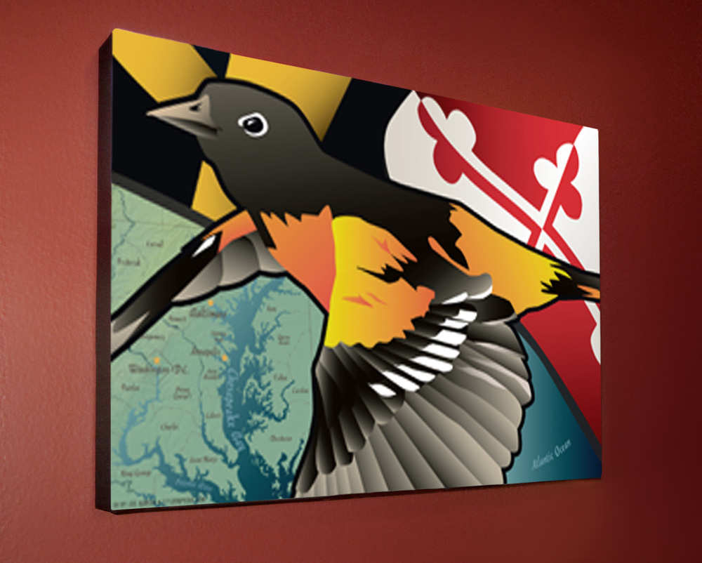 Picture of Oriole canvas hanging.