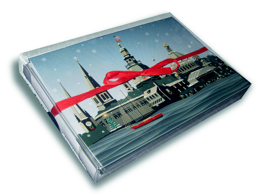 Snowy Annapolis Holiday, Card Package of 12 cards with white envelopes.