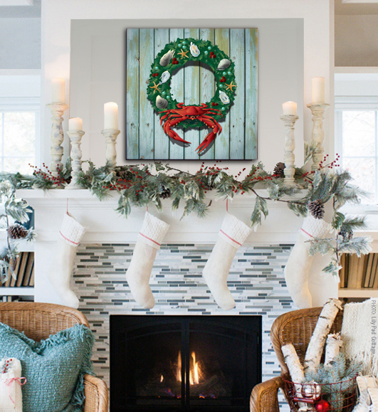 "Holiday crab wreath canvas shown above mantle (20 x 20"" size)"