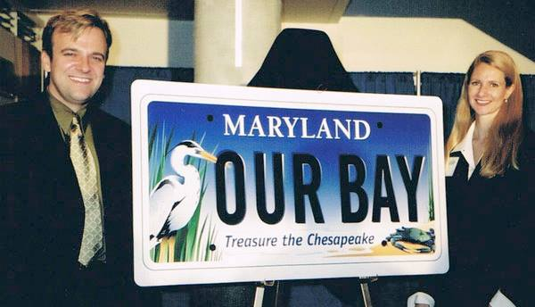Joe and Eva Barsin, JEB Design, Inc., at the unveiling ceremony of the new Maryland Bay Plate at the National Aquarium in Baltimore, MD.