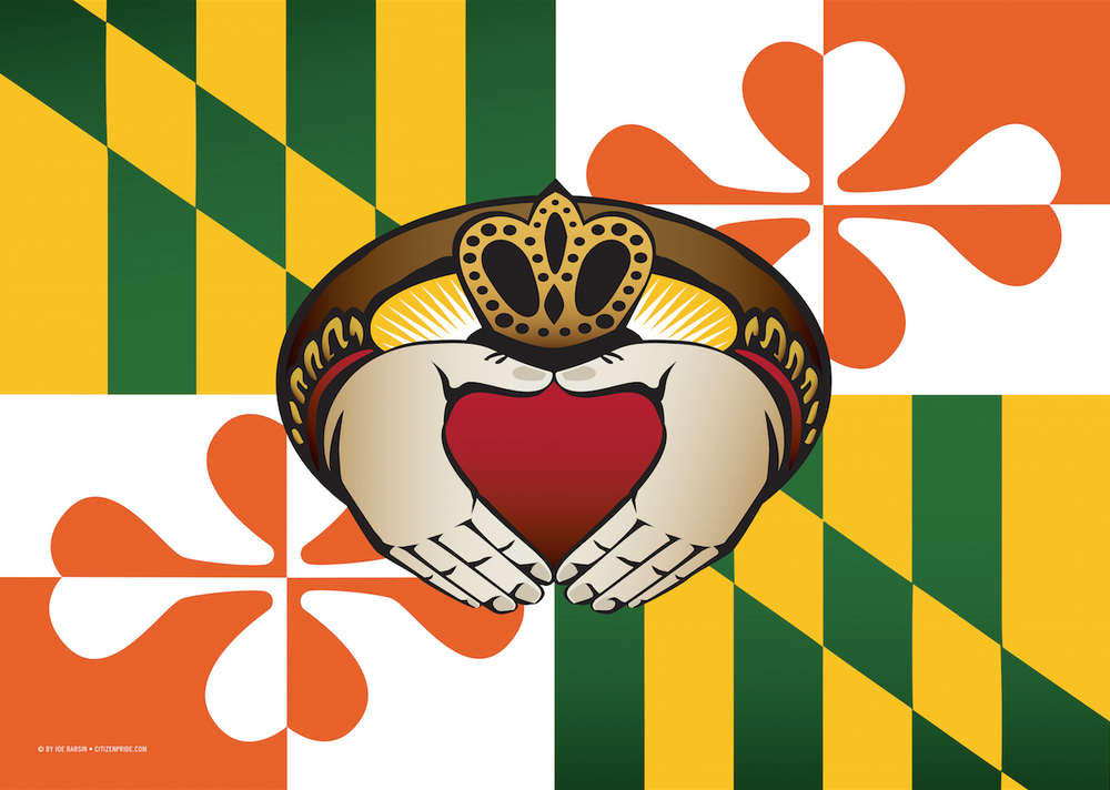 Maryland Irish Claddagh Flag