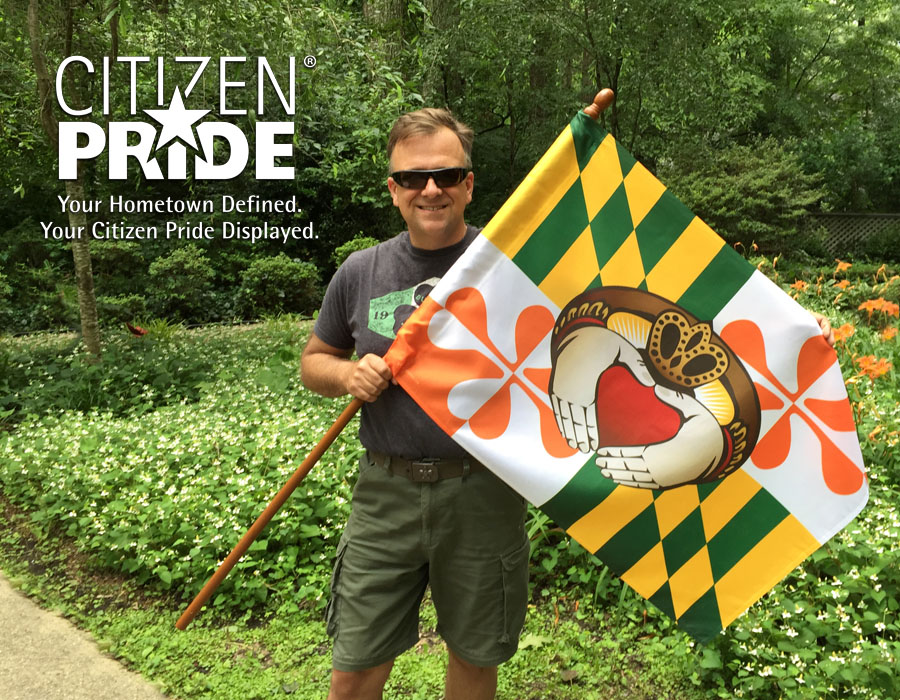 Artist, Joe Barsin, is holding our Maryland Irish Claddagh House flag, 28 x 40